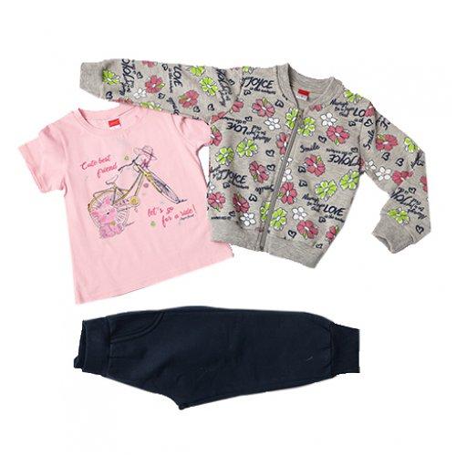 Joyce γκρι σετ ζακέτα μπλούζα παντελόνι για κορίτσι 211100A