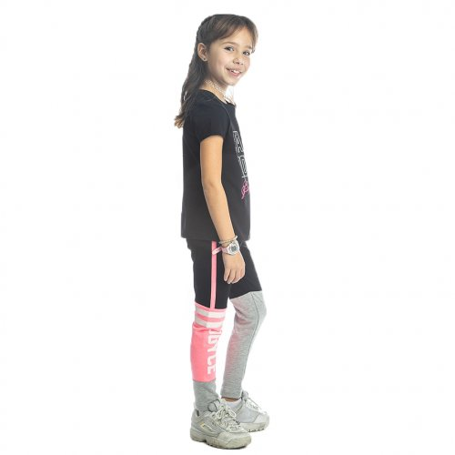 Joyce μαύρο σετ μπλουζάκι κολάν για κορίτσι 211508T