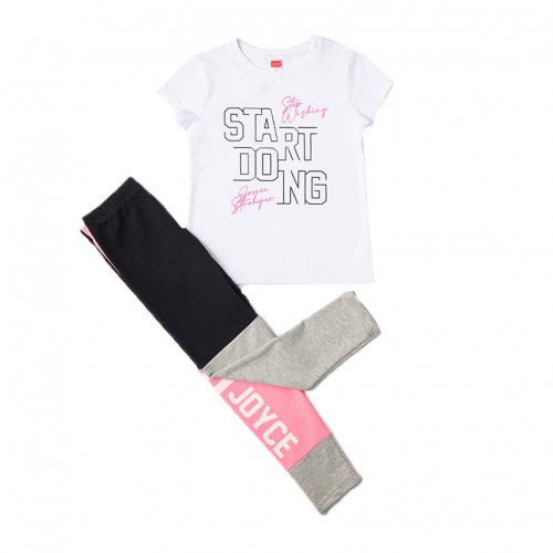 Joyce ροζ σετ μπλουζάκι κολάν για κορίτσι 211508R
