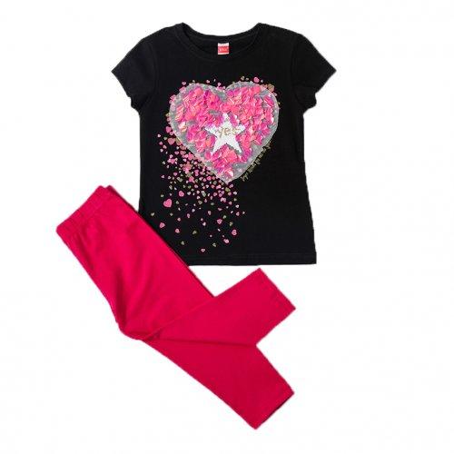 Joyce μαύρο σετ μπλουζάκι κολάν για κορίτσι 211522B