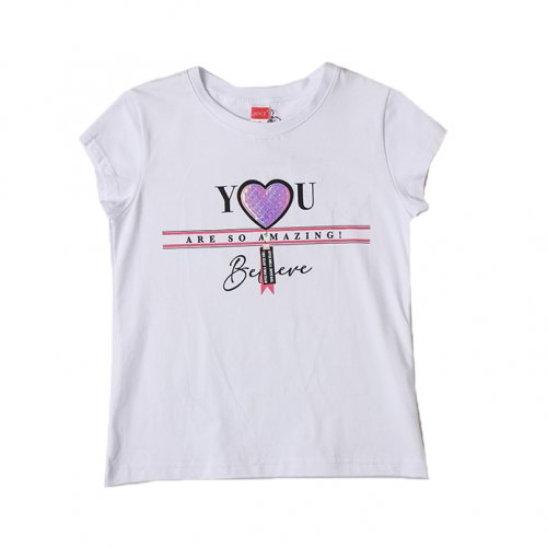 Joyce λευκό t-shirt με τύπωμα για κορίτσια 211594L