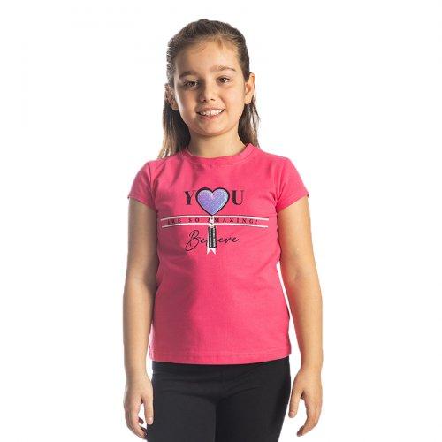 Joyce φούξια t-shirt με τύπωμα για κορίτσια 211594