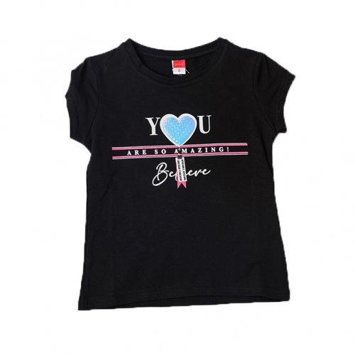 Joyce μαύρο t-shirt με τύπωμα για κορίτσια 211594B