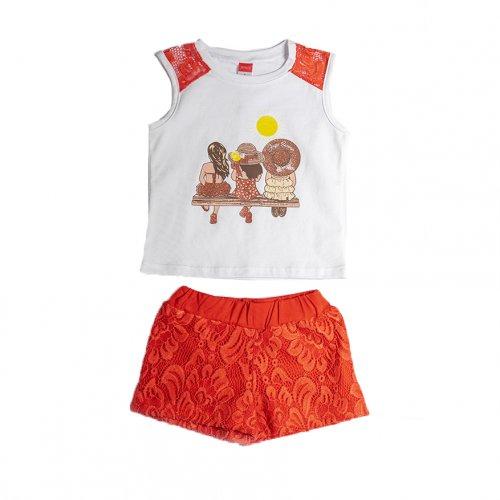 Joyce κόκκινο σετ μπλούζακι σορτσ για κορίτσι 211135Y