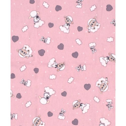 DIMcol ΠΑΝΑ ΦΑΝΕΛΑ ΒΡΕΦ Flannel Cotton 100% 80X80 Προβατάκι 05 Pink