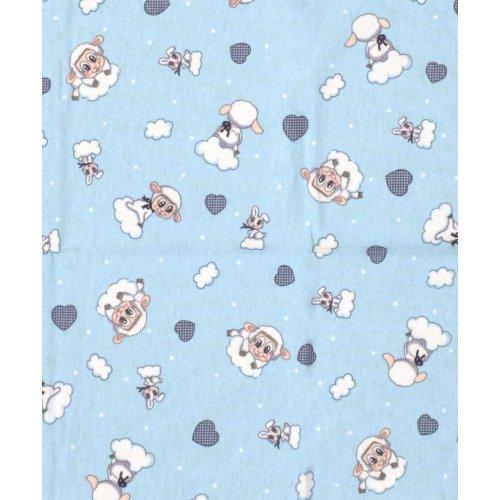 DIMcol ΠΑΝΑ ΦΑΝΕΛΑ ΒΡΕΦ Flannel Cotton 100% 80X80 Προβατάκι 06 Sky blue