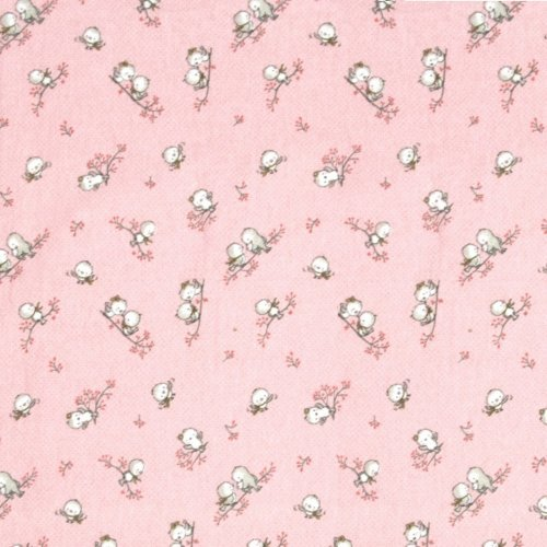 DIMcol ΠΑΝΑ ΦΑΝΕΛΑ ΒΡΕΦ Flannel Cotton 100% 80X80 Birds 15 Pink