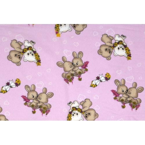 DIMcol ΠΑΝΑ ΦΑΝΕΛΑ ΒΡΕΦ Flannel Cotton 100% 80X80 Little Brothers 148 Pink