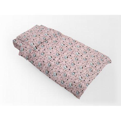 DIMcol ΠΑΠΛΩΜΑΤΟΘΗΚΗ ΕΜΠΡΙΜΕ ΠΑΙΔ Flannel Cotton 100% 160Χ240 Puppy-Kitten 18 Pink