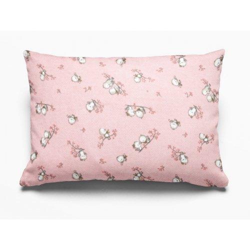 DIMcol ΜΑΞΙΛΑΡΟΘΗΚΗ ΕΜΠΡΙΜΕ ΠΑΙΔ Flannel Cotton 100% 50Χ70 Birds 15 Pink