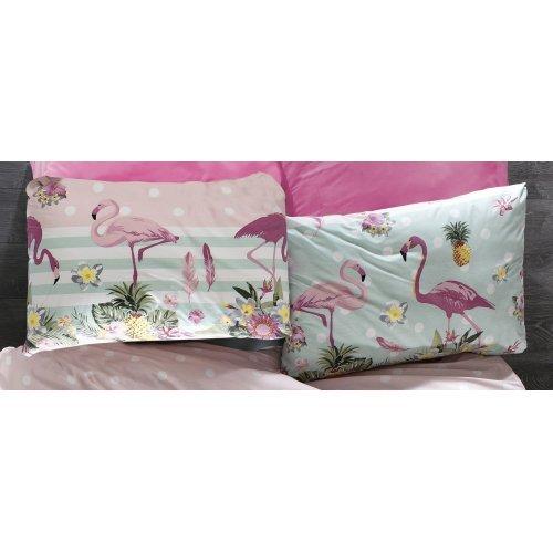DIMcol ΜΑΞΙΛΑΡΟΘΗΚΗ ΕΜΠΡΙΜΕ ΠΑΙΔ Flannel Cotton 100% 50Χ70 Flamingo 294 Pink-Green
