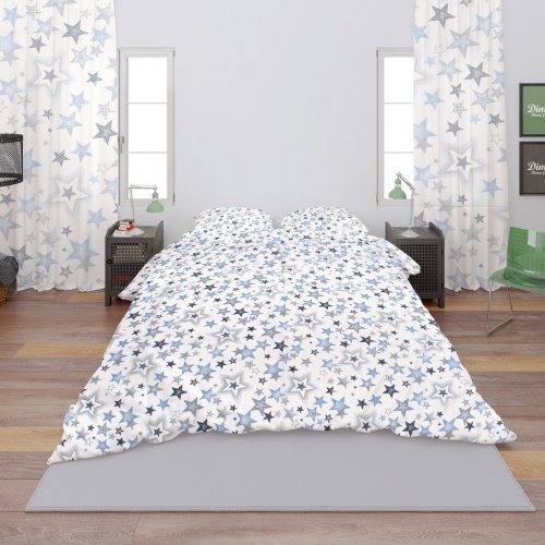 DIMcol ΣΕΝΤΟΝΙΑ ΕΜΠΡΙΜΕ ΣΕΤ 4 τεμ ΕΝΗΛ Cotton 100% 240Χ270 Star 123 Blue-Grey