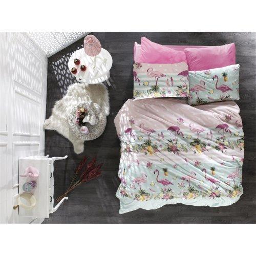 DIMcol ΣΕΝΤΟΝΙΑ ΕΜΠΡΙΜΕ ΣΕΤ 4 τεμ ΕΝΗΛ Flannel Cotton 100% 220Χ240 Flamingo 294 Pink-Green