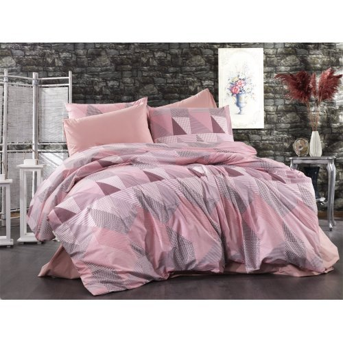 DIMcol ΣΕΝΤΟΝΙΑ ΕΜΠΡΙΜΕ ΣΕΤ 4 τεμ ΕΝΗΛ Flannel Cotton 100% 220Χ240 Geometrical 331 Pink-Salmon