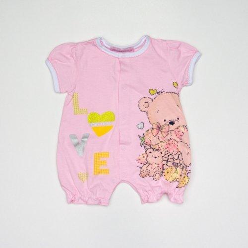 Βρεφικό ροζ φορμάκι βαμβακερό με κουμπιά και σχέδιο YS207