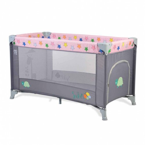 ΠΑΡΚΟΚΡΕΒΑΤΟ CANGAROO MONI SAFARI PINK GREY 3800146247799