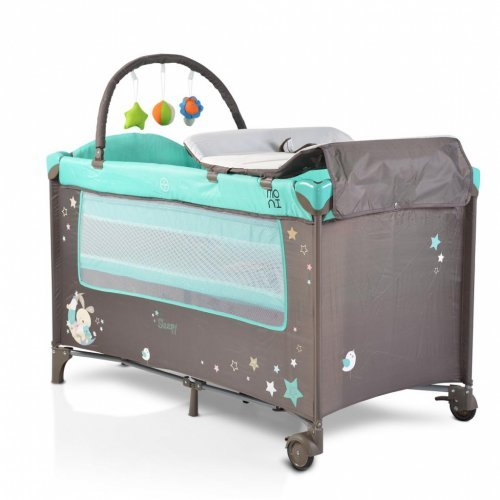 ΠΑΡΚΟΚΡΕΒΑΤΟ 2 ΕΠΙΠΕΔΩΝ MONI CANGAROO SLEEPY TURQUOISE WITH WHEELS 107075