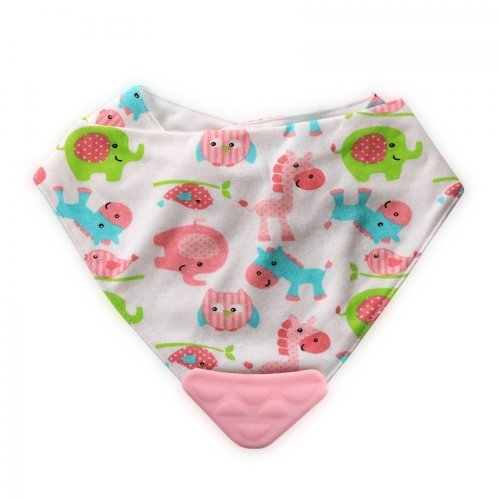 LORELLI ΒΡΕΦΙΚΗ ΣΑΛΙΑΡΑ BANDANA BIB WITH TEETHER 1026017-ANIMALS PINK