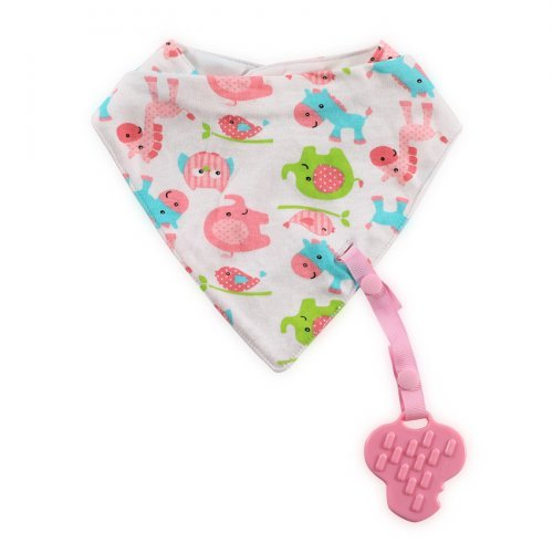 LORELLI ΒΡΕΦΙΚΗ BANDANA BIB WITH TEETHER AND RIBBON 1026018-PINK ANIMALS