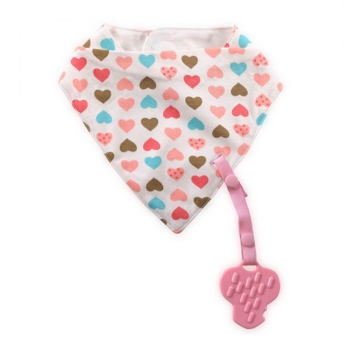 LORELLI ΒΡΕΦΙΚΗ BANDANA BIB WITH TEETHER AND RIBBON 1026018-PINK HEARTS