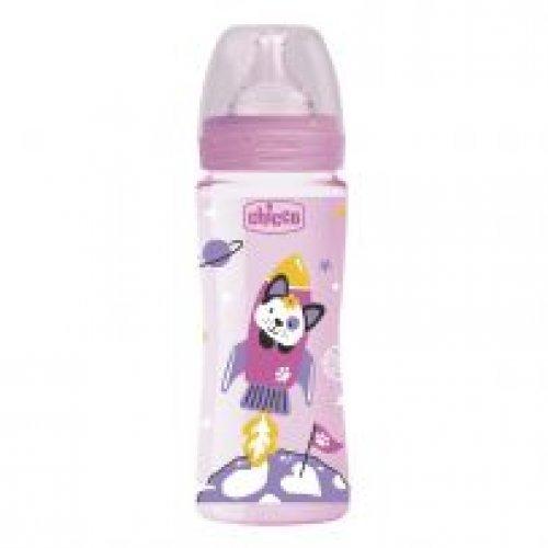 Chicco Μπιμπερό Πλαστικό Well Being Ροζ 330ml με Θηλή Σιλικόνης - Ροζ A60-28637-10