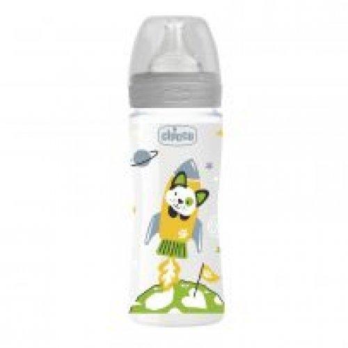 Chicco Μπιμπερό Πλαστικό Well Being Unisex 330ml με Θηλή Σιλικόνης - Γκρι A60-28637-30