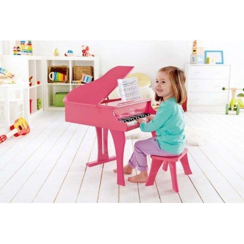 Hape Happy Grand Piano Pink - Το Μεγάλο Μου Πιάνο Με 30 Πλήκτρα & Καρεκλάκι - 2Τεμ. E0319A