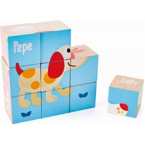 Hape Friendship Puzzle Blocks - Ο Πέπε & Οι Φίλοι Του Σχηματίζουν Έξι Διαφορετικές Εικόνες - 9Τεμ. E0452A