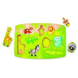Hape Happy Puzzles Jungle Peg Puzzle - Παζλ Με Τα Ζώα Της Ζούγκλας - 10Τεμ. E1405A