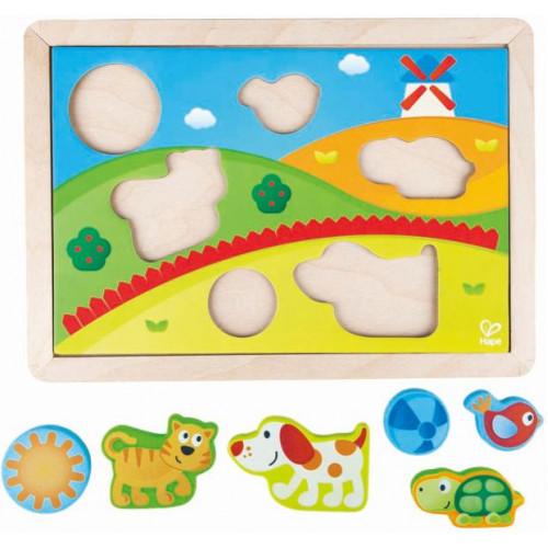 Hape Sunny Valley Puzzle 3 in 1 - Το Παζλ Της Ηλιόλουστης Κοιλάδας Με 3 Διαφορετικές Βάσεις Εφαρμογής - 12Τεμ. E1601A