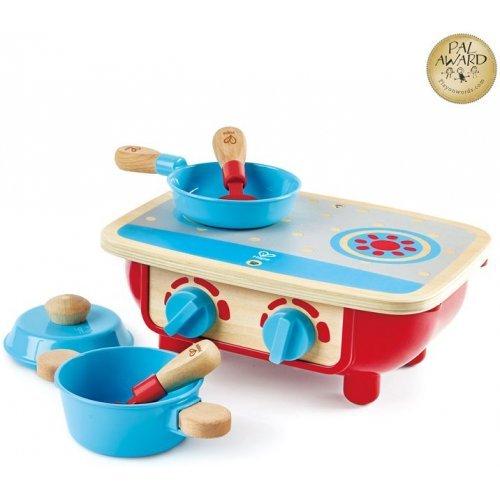 Hape Toddler Kitchen Set - Μικρή Κουζίνα Με Τηγάνι, Κατσαρόλα Και 2 Σπάτουλες - 6Τεμ. E3170