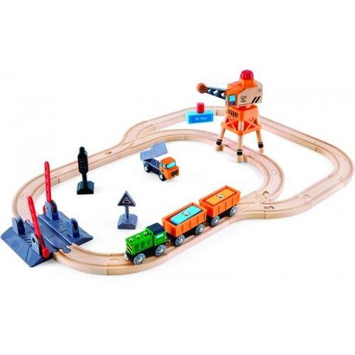 Hape Crossing & Crance Set - Σιδηρόδρομος με Γερανό Φορτοεκφόρτωσης - 34Τεμ. E3732A