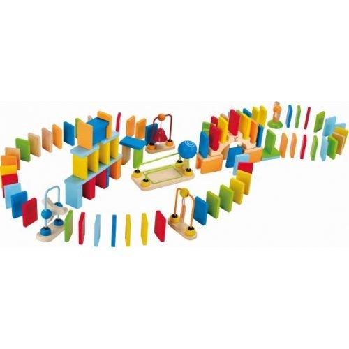 Πολύχρωμο Ντόμινο 100 Τεμαχίων Με Γέφυρα,Κουδουνάκι,Σιδηροτροχιές & Τεχνάσματα -107Τεμ. HAPE E1042