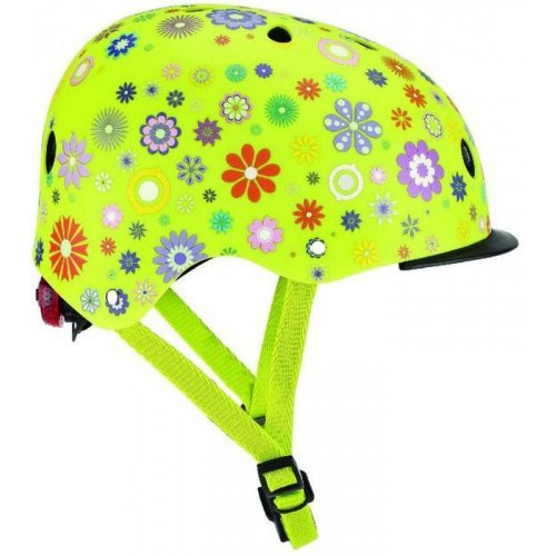 Globber Κράνος Elite Lights XS/S (48-53cm) Lime Green Flowers 507-106