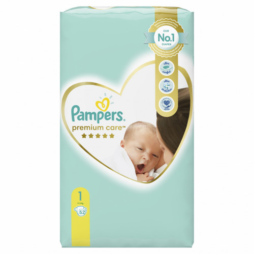 PAMPERS ΠΑΝΕΣ PREMIUM CARE NO1 2-5KG VALUE PACK 52ΤΕΜ 8001841104751